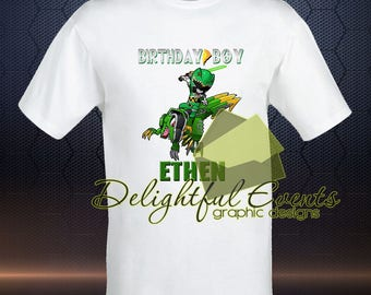 Birthday Boy Dino Charge Green Power Ranger Iron On Transfer T Shirt Design