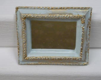 Dolls House Miniature Mirror Hand Painted Vintage Style in Duck Egg Blue and Gold Colour 1:12 Scale