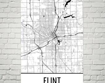 Flint Map, Flint Art, Flint Print, Flint MI Poster, Flint Wall Art, Flint Gift, Map of Michigan, Michigan Poster, Michigan Decor, Michigan