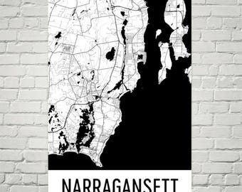 Narragansett RI Map, Narragansett Art, Narragansett Print, Narragansett Rhode Island Poster, Wall Art, Gifts, Map of Rhode Island, Decor