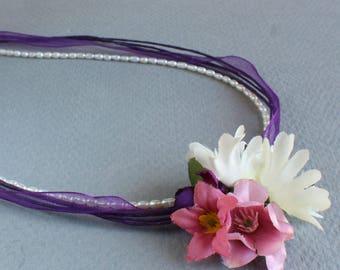 Flower Necklace Bridal Brides Maid Wedding Spring Casual Pretty Silk Organza Freshwater Pearls Garland