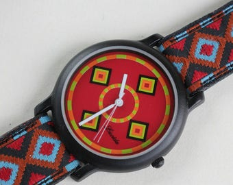 Watch Retro Art Deco Embroidered Band Indian Native Matching Face Red Japanese Quartz