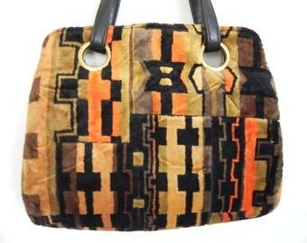 1960's JR USA Carpet Bag Geometric Pattern Wonderful Colors Your Outfit Just Got Legit! Large Vintage Tapestry Purse
