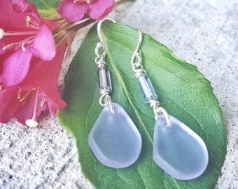 Seaglass & Iolite Drop Earrings