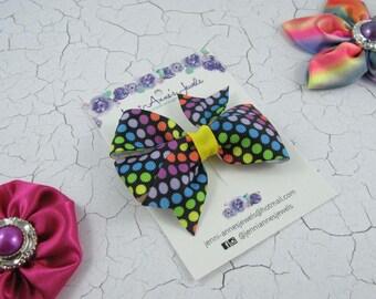 Rainbow Spot Pinwheel Hair Bow Clip