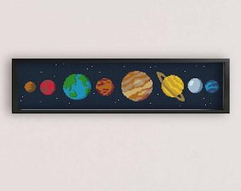 Cute Solar System Cross stitch Pattern / PDF Pattern / xstitch chart / solar system cross stitch / space cross stitch pattern / PixlStitch
