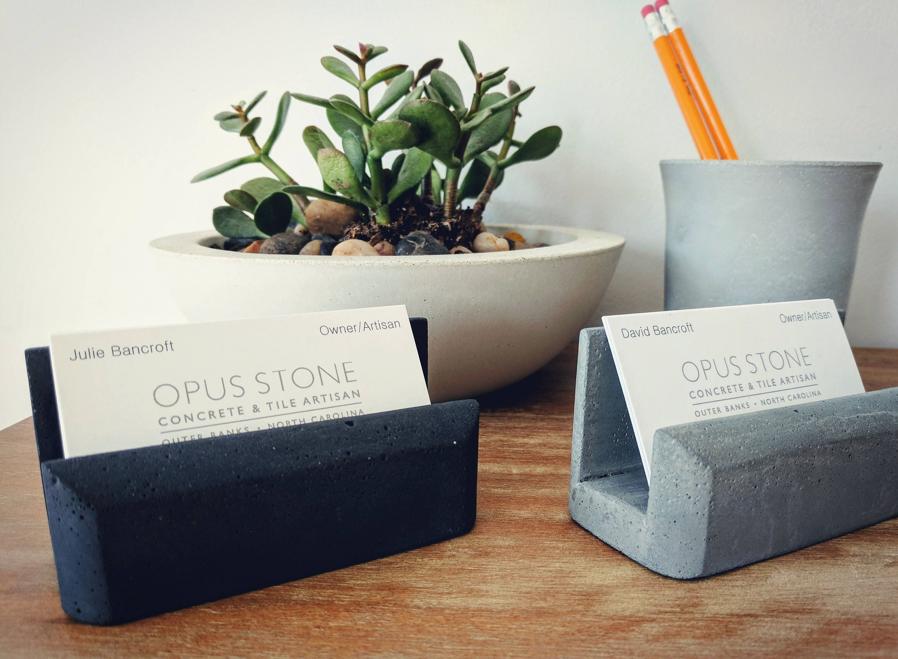 Business Card Holder. Concrete Decor. Office Decoration. Gift for ...