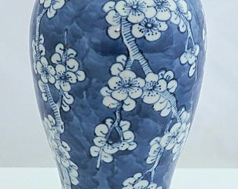 Chinese Export Daoguang marked and period C19th BLUE & WHITE prunus pattern Vase A/F
