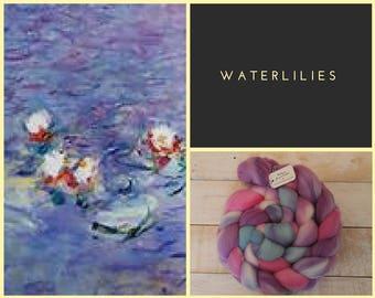 Waterlilies, 100% Merino Wool Combed Top, Spinning Fiber, Felting Fiber, Hand-dyed