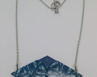 Blue and black diamond-shaped necklace