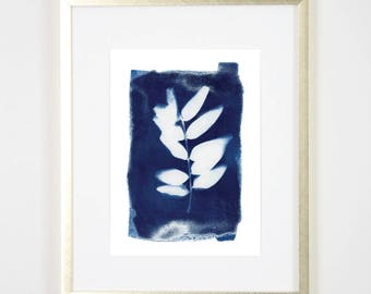 Blue Botanical Cyanotype PRINT / Handmade Art Print / Original Botanical Floral Cyanotype Photogram Art / indigo/ 5x7