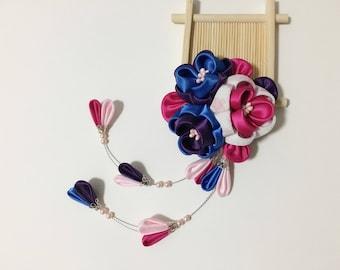 Tsumami Kanzashi Hair Clip/Handmade Kanzashi Flower Hair Clip/Maiko Hair Clip/Japnese Geisha Hair accessories/Pink Kanzashi Floral Hair Clip