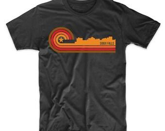 Retro Style Sioux Falls South Dakota Skyline T-Shirt