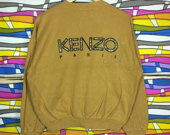 Rare!! Vintage KENZO PARIS Big Logo Spellout Front Back Sweatahirt