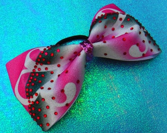 Tailless Cheer Bow, Tuxedo Bow Sublimated in Pink, White and Black with Pink Rhinestones and a Pink Glitter Center