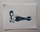 Mermaid Print in Deep Prussian Blue