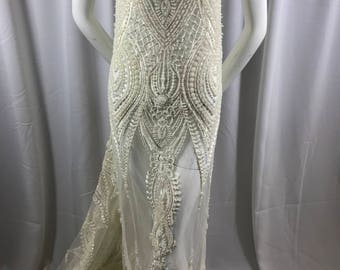 Embroidered Beaded Fabric - Ivory Lace Heavy Beads By The Yard For Bridal Veil Flower Mesh Dress Top Wedding Decoration