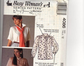 McCall's Busy Woman's 4086-Misses' Blouse and Jabot: sewing pattern, front button opening, short or long sleeves, attachable jabot, UNCUT,ff