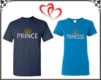 Prince Princess Couple T shirt Prince Princess With Crown Couple T-shirt Prince Princess Couple Tees Prince Princess Shirt Gift For Couple