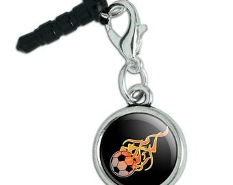 Soccer Ball Football Cartoon Flames Mobile Cell Phone Headphone Jack Anti-Dust Charm fits iPhone iPod Galaxy
