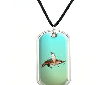 Sea Turtle Flying Military Dog Tag Pendant Necklace with Cord