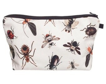 Insects Bugs Beetles Bees Make Up Pouch Toiletries Case