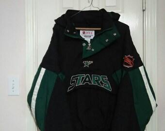 Retro Dallas Stars starter pull over jacket sz XL