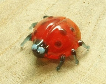 Ladybug glass figurine Collectible glass animals Glass figurines Artglass boro  glass murano glass art blown Miniature sculpture lampworking