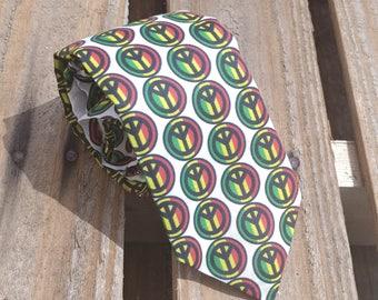 Rasta Necktie, Peace Sign Necktie, Bob Marley Necktie, Jamaica Necktie, Red Yellow Green Necktie, Reggae Necktie, One Love Necktie