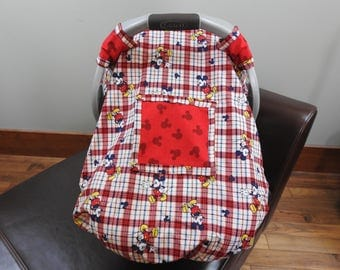 Car Seat Cover, Canopy, Boy, Snug Fit, Window, Disney, Mickey Mouse, Boy, Red, Classic