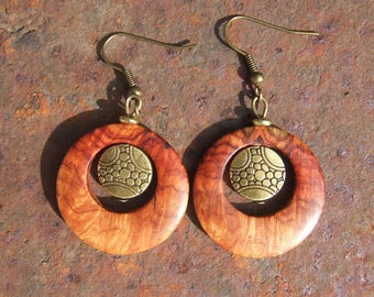 Earrings wooden (magnifying glass of amboine red)