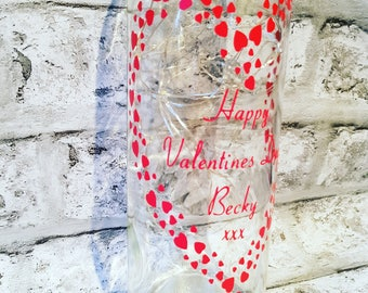 Personalised Light Up Wine Bottle With Happy Valentines Day. Message on a bottle, fairy lights bottle, wine bottle Love Hearts wall quote