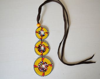African Maasai Beaded Necklace | Choker Necklace | African Jewelry | Yellow Necklace | Tribal Necklace | Gift for Her | One Piece