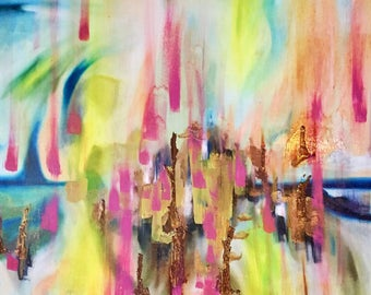 """abstract oil & gold pigment original painting """"skyfall"""" home decor on masonite 24X30"""""""