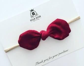Maroon Fabric Cotton Bow Knot Headband - Burgundy Fabric Bow Knot / Deep Red Fabric Bow / Autumn Fabric Bow Headband