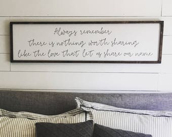 The love that let us share our name. Above the bed sign [FREE SHIPPING!]