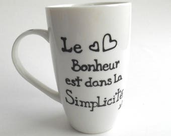 Mug is happiness in simplicity. Coffee, hand painted. Made in Quebec. Table art. good morning. heart