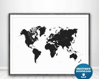 World Map Print Etsy - Us word map illionis