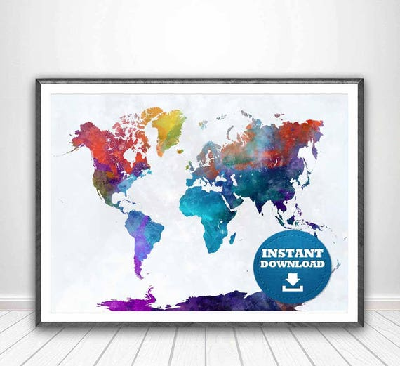 Digital holi festival of colours world map high printable digital holi festival of colours world map high printable instant download watercolor world map hindu map high resolution world mapa gumiabroncs Images