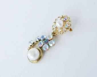 Vintage jewellery. Vintage aurora borealis brooch. Vintage brooch. Floral brooch. Pearl brooch. Ab. Vintage jewelry.