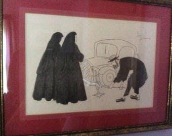 Framed original artwork by J. Kuerr -Jewish man changing tire for nuns.