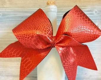 Red Cheer Bow Snakeskin Reptile Shiny