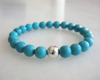 Sterling silver and turquoise bracelet / Womens turquoise bracelet mens silver turquoise bracelet turquoise jewelry something blue bracelet