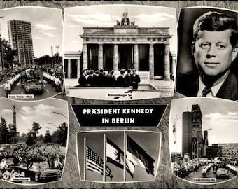 c.1963 John F. Kennedy, Ich bin ein Berliner Famous Speech; 6 Inset views of Kennedy in Berlin; 35th US President; Mint Condition.