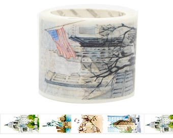 Travel Edition for Scrapbook - America Watercolor Painting Washi Tape