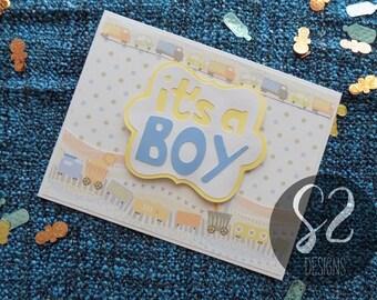 Handmade Baby Boy Train Card