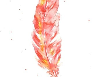 Red Feather Original Watercolour