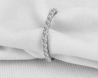 Half Eternity Wedding Band in 18k White Gold, Diamond Wedding Ring, Diamond Wedding Band, Stackable Diamond band