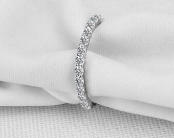 Half Eternity Wedding Band in 18k White Gold, Diamond Wedding Ring, Diamond Wedding Band, Stackable Diamond band