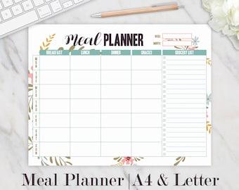 Weekly Meal Planner Printable, Meals Planner, Meal Plan, Family Meal Planner Printable, Grocery List Printable, Meal Planner Pad, A4, Letter